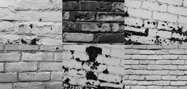 6种墙面效果、陈旧的墙壁、砖墙Photoshop笔刷素材