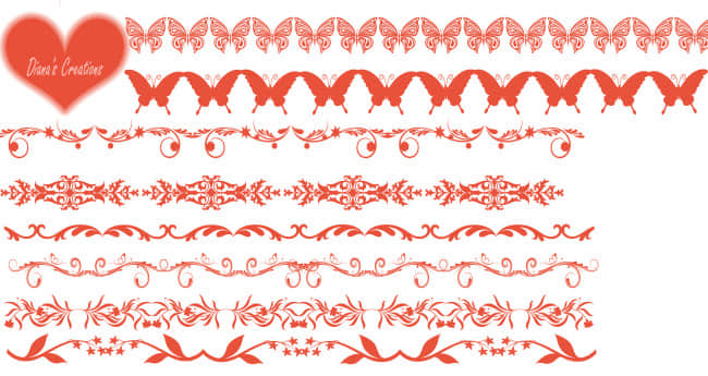 蝴蝶艺术花纹边框、分隔线Photoshop笔刷