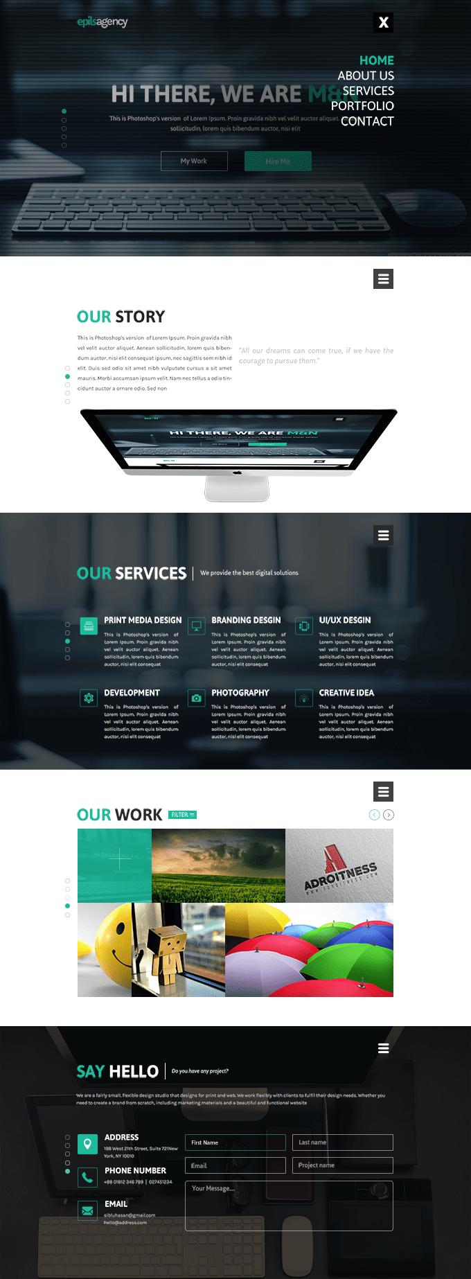 酷亮科技企业网站主题PSD素材下载