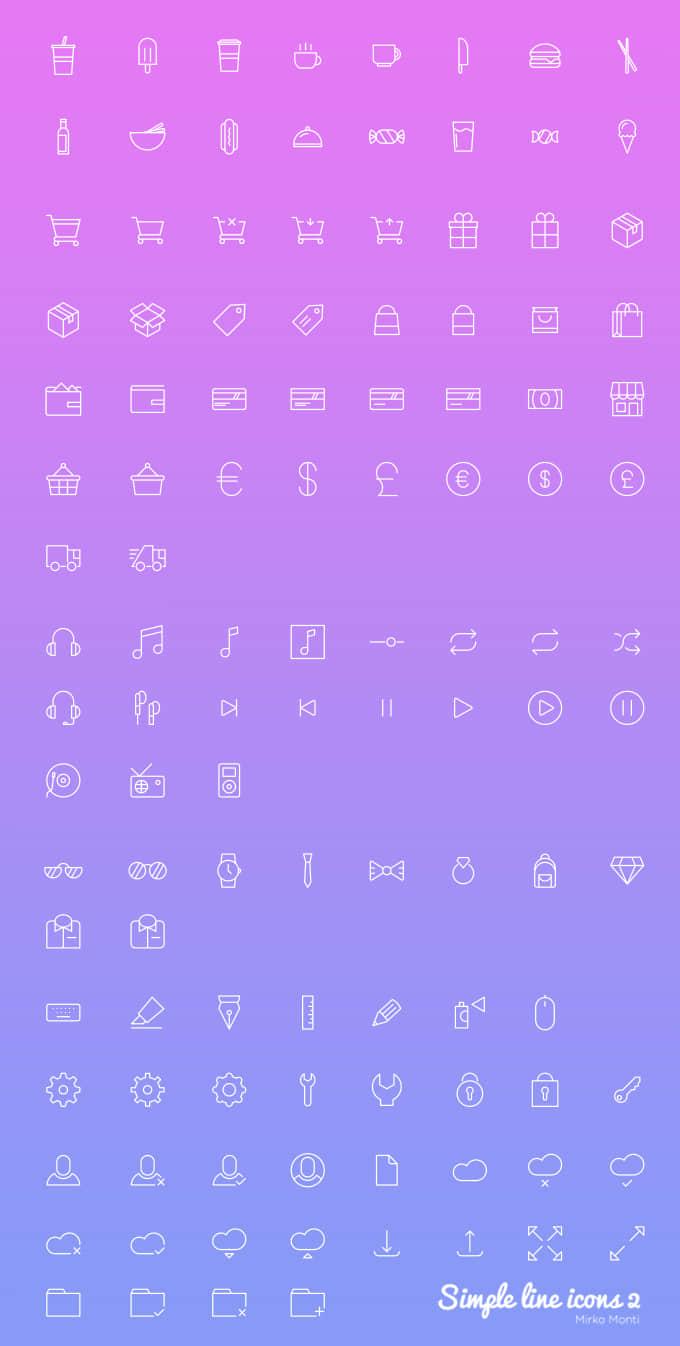 100+ 线条式简洁图标组合PSD素材下载