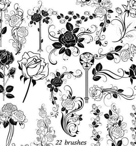 漂亮的植物玫瑰花纹图案Photoshop笔刷
