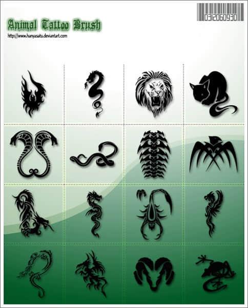 眼镜蛇、狮子、猫、龙、蝎子、羊等纹饰图案PS笔刷