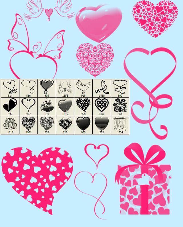 非主流爱心装扮Photoshop美图笔刷 美图笔刷 爱心笔刷 情人节笔刷  love brushes