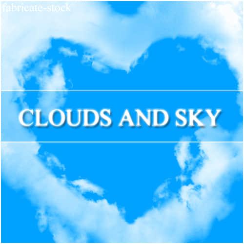 天空心形云朵、爱心云彩Photoshop笔刷素材