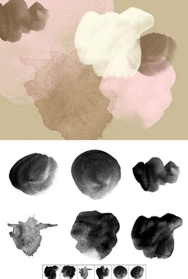 6种水彩、水粉笔触Photoshop笔刷下载