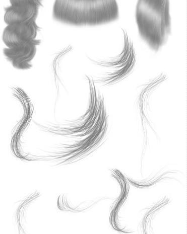 素描式细致女式头发、发型Photoshop笔刷素材