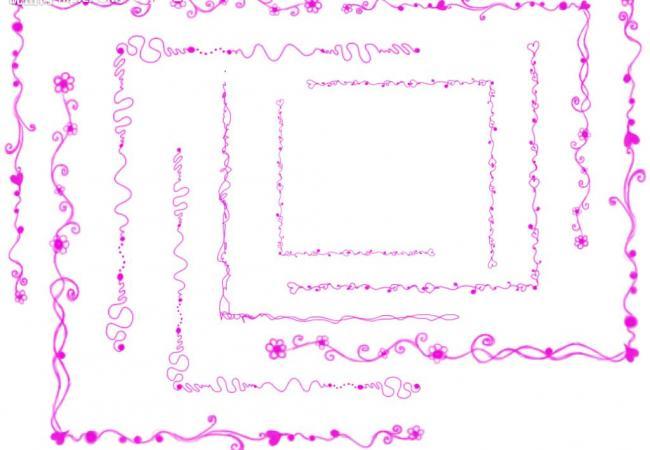 漂亮的线条花纹边框Photoshop笔刷素材 边框笔刷  adornment brushes