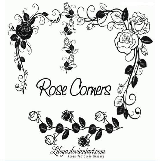 玫瑰花环鲜花花纹图案Photoshop笔刷素材