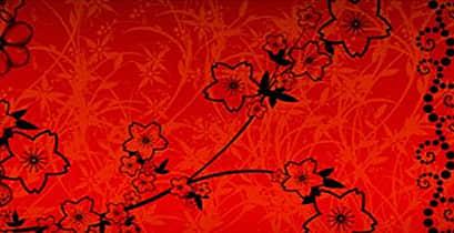 枝条桃花剪影Photoshop笔刷素材 植物花纹笔刷 梅花笔刷 桃花笔刷  flowers brushes