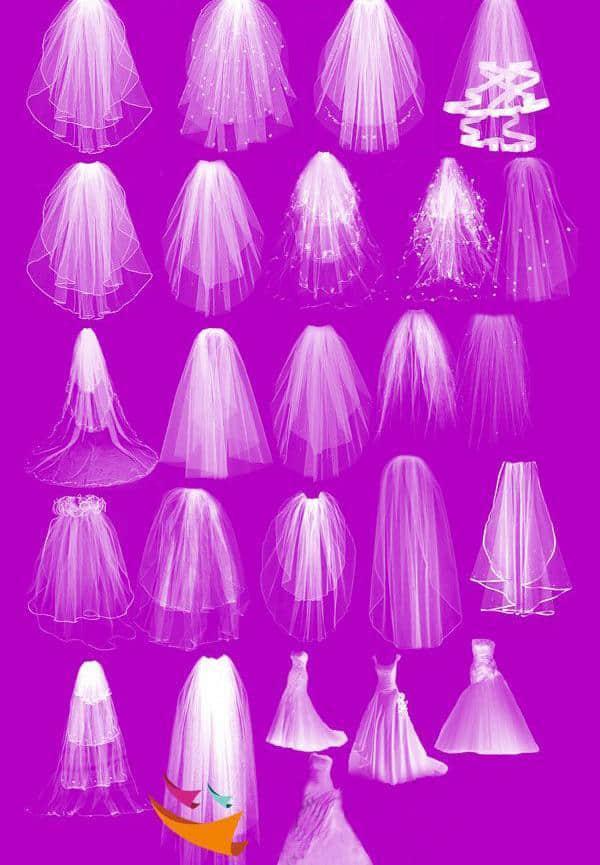 婚礼婚纱、披纱Photoshop笔刷素材 婚纱笔刷  characters brushes