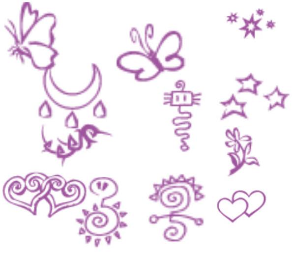 可爱童趣蝴蝶、爱心涂鸦Photoshop笔刷素材