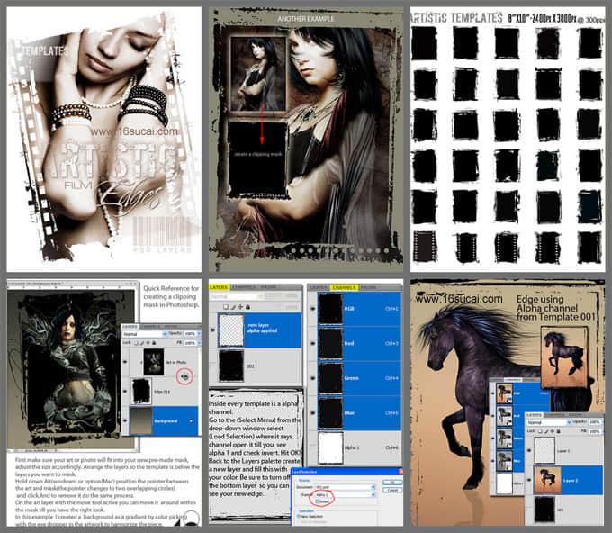 非主流式残破的胶卷背景、边框Photoshop照片美图笔刷