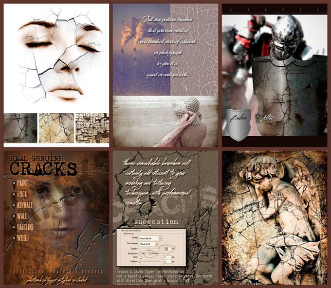 龟裂纹理、岁月痕迹裂纹、墙壁残破划痕Photoshop笔刷素材