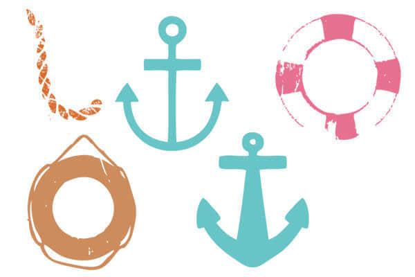 小清新船锚、救生圈图形Photoshop美图笔刷