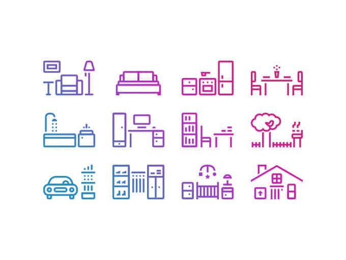 线框式家庭图案图标PSD源文件素材下载