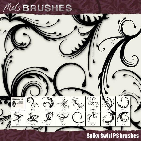 优雅的蕨类植物花纹图案Photoshop笔刷素材