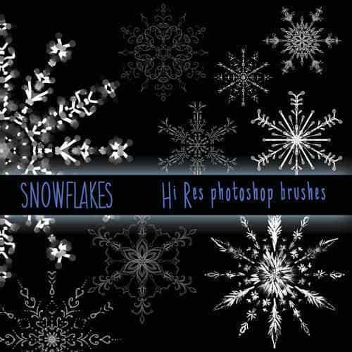 漂亮优雅的雪花式花纹图案Photoshop笔刷素材下载