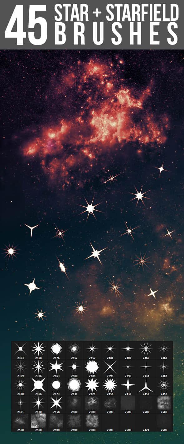 45种星星闪烁、星光、十字星图案Photoshop笔刷