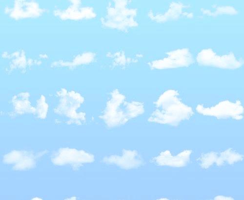 各式各样的白云效果Photoshop笔刷素材