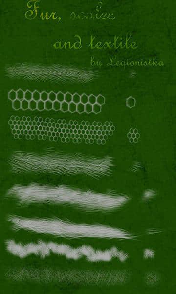免费毛发、绒毛、编织物合集Photoshop笔刷素材