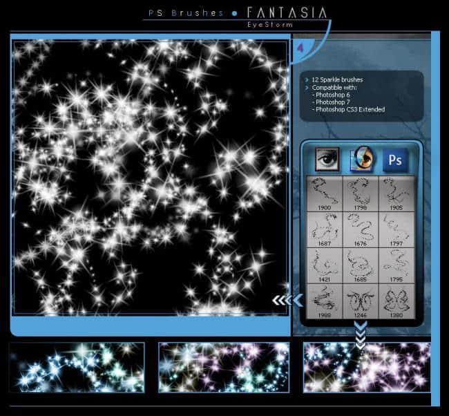 7个闪烁光影特效、星光点点Photoshop梦幻背景笔刷打包下载