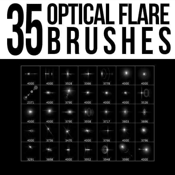35种光斑、光晕、超新星爆炸效果Photoshop笔刷素材