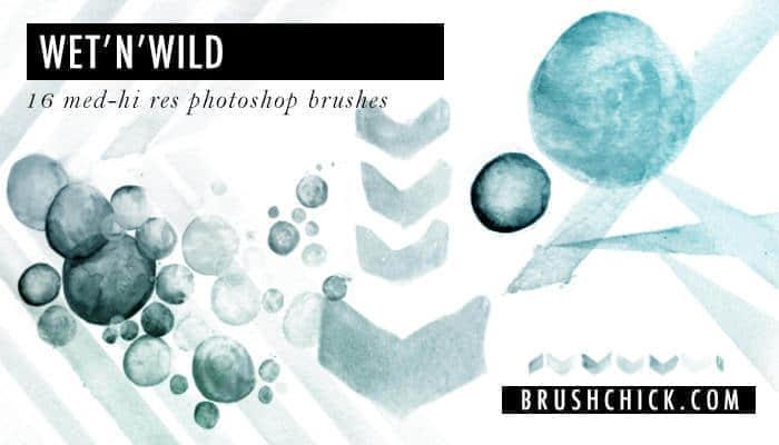 水彩风格箭头标记、球体泡泡Photoshop笔刷素材