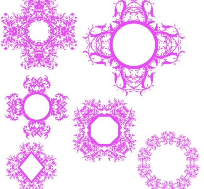 万花筒式对称花纹图案Photoshop笔刷素材