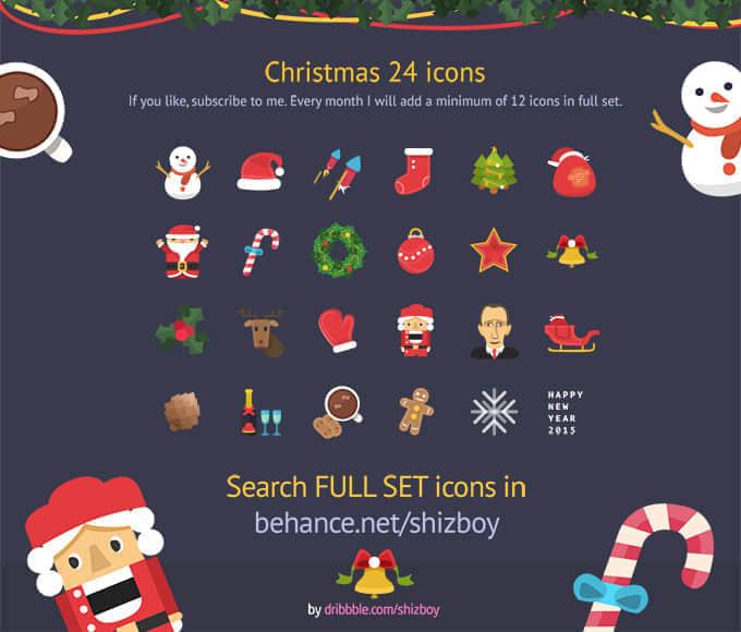 24个扁平化式可爱圣诞节图标PSD素材下载