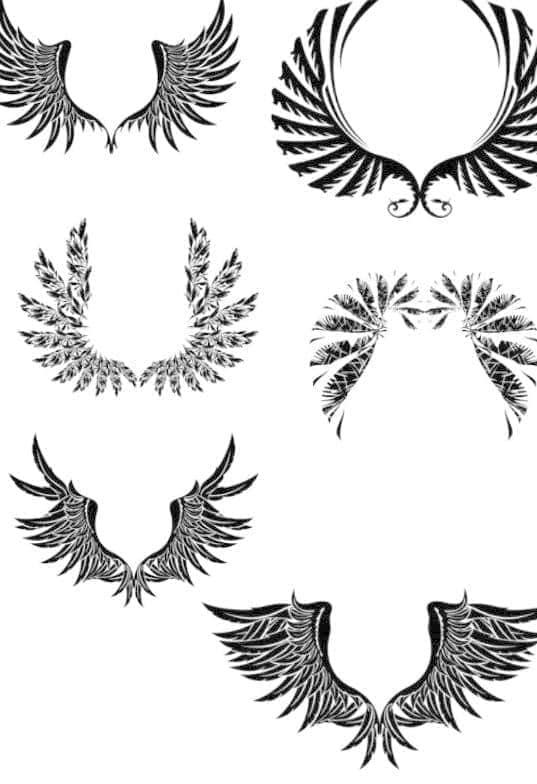 非主流涂鸦羽毛翅膀Photoshop笔刷素材
