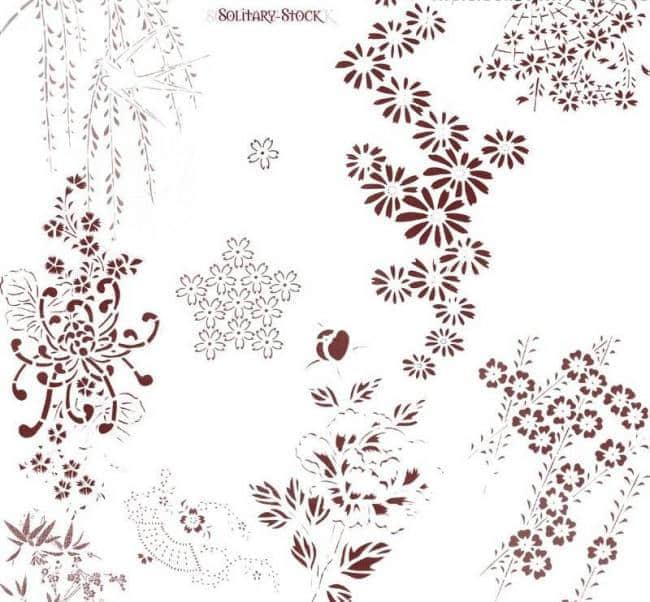 漂亮的植物花纹照片美图背景边框饰品PS笔刷 #.76