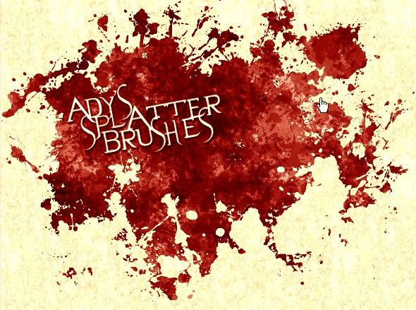 血迹滴溅、油漆喷溅效果Photoshop笔刷下载
