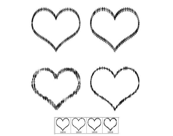 独特的小人组成的爱心图案PS笔刷素材