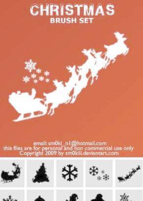 圣诞节美图装饰Photoshop笔刷素材