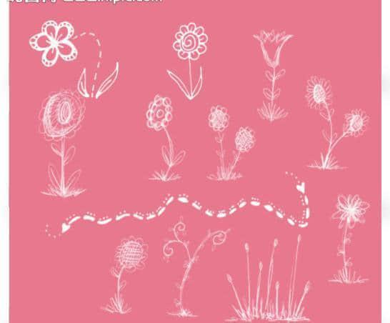 呆萌童趣手绘鲜花、花朵Photoshop笔刷素材