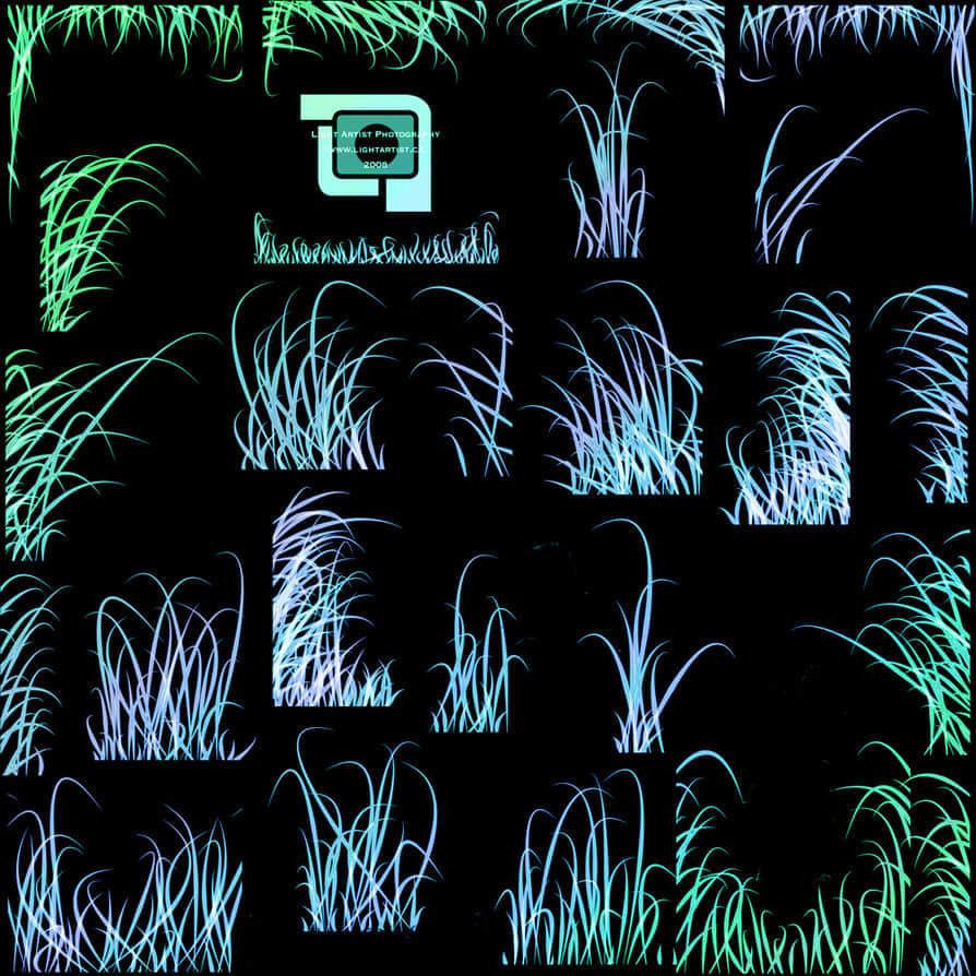 手绘高品质小草、青草、草丛Photoshop笔刷素材 青草笔刷 草地笔刷 小草笔刷  plants brushes