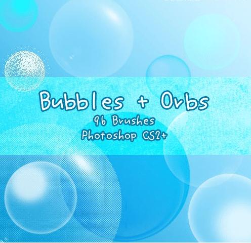 96种不同样式的泡泡效果PS笔刷