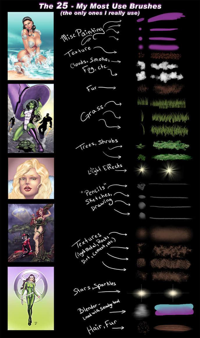 25种常用CG创作绘图笔刷PS素材