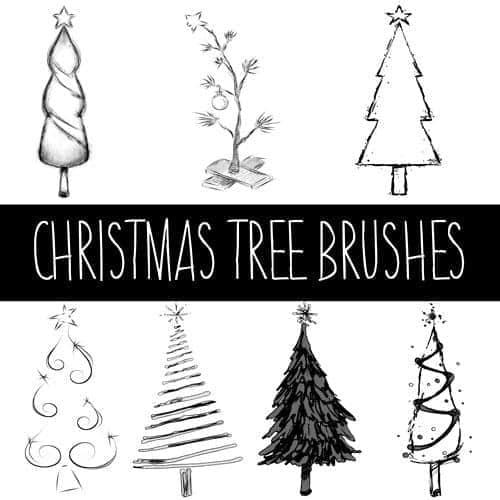 手绘卡通圣诞树PS笔刷素材