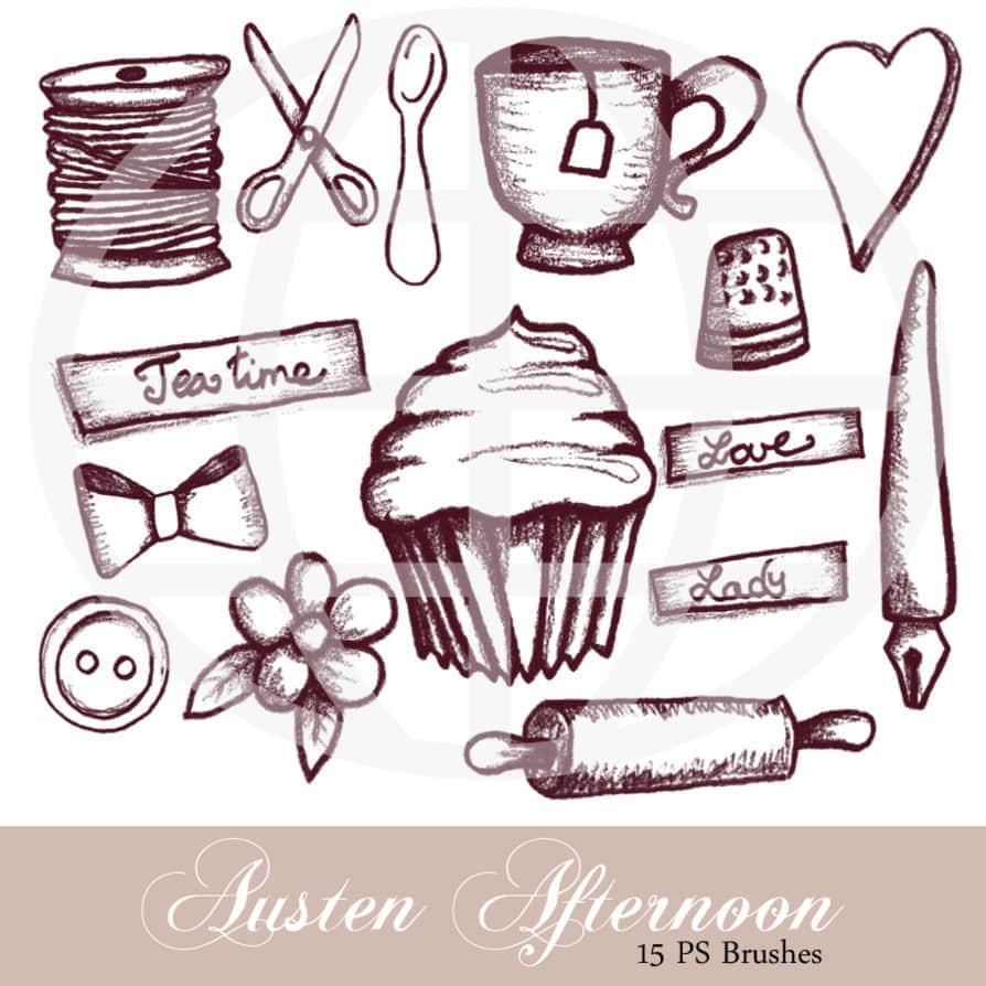 纸杯蛋糕、咖啡杯、蝴蝶结、擀面杖、剪刀、汤勺、爱心等PS涂鸦笔刷