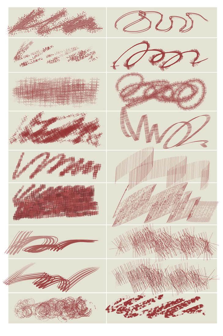 18种特色笔触Photoshop笔刷素材