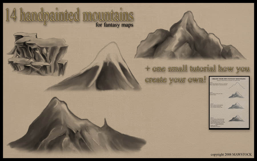 手绘水墨山脉、大山岩石峭壁Photoshop笔刷