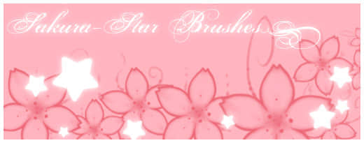 星星、樱花图案PS笔刷素材