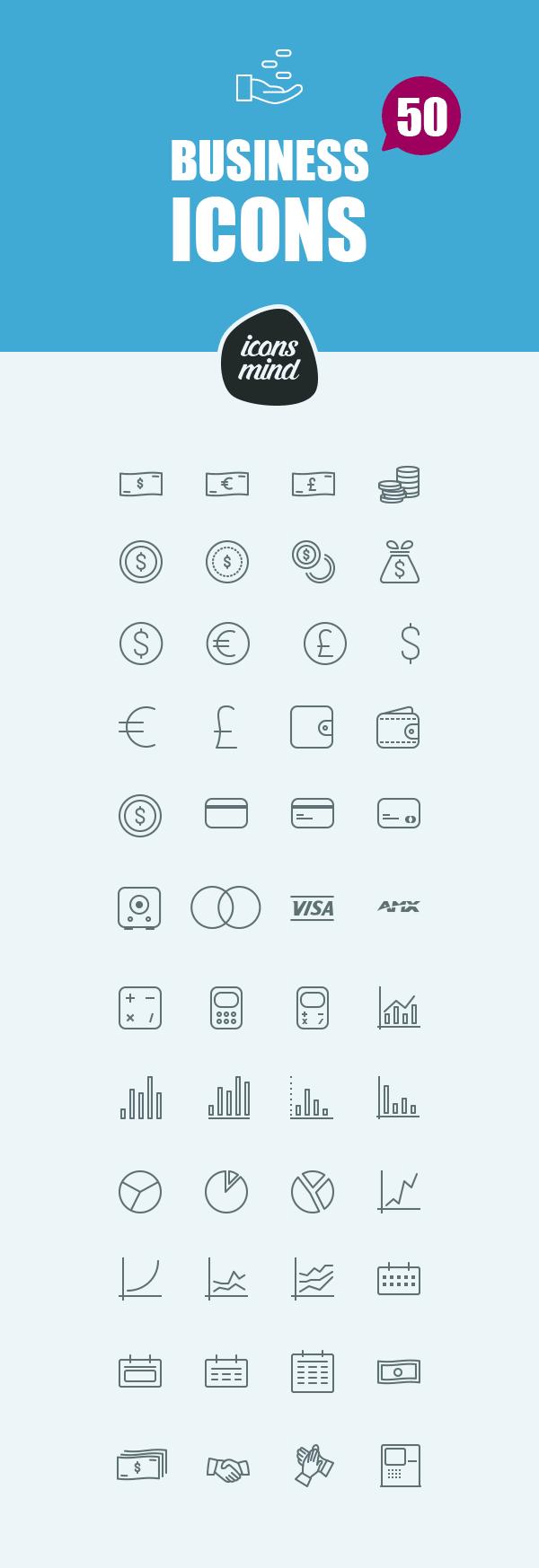 50个免费电子商务ICONS图标PSD素材包