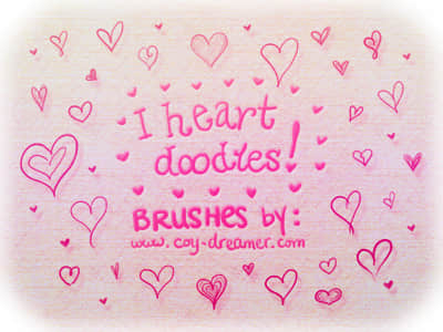可爱的手绘爱心图案情人节专款Photoshop笔刷