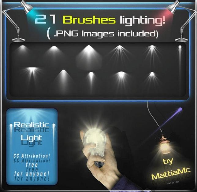 21种灯光照射、舞台打光效果Photoshop笔刷素材 灯光笔刷 射灯笔刷  light brushes