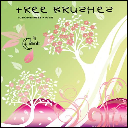 漂亮的植物树木花纹图案Photoshop笔刷 美图笔刷 植物花纹笔刷  adornment brushes