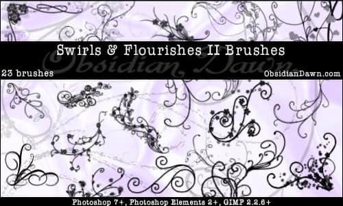 漂亮的漩涡卷曲状植物花纹Photoshop笔刷素材 漩涡花纹笔刷 植物花纹笔刷 卷曲花纹笔刷  flowers brushes