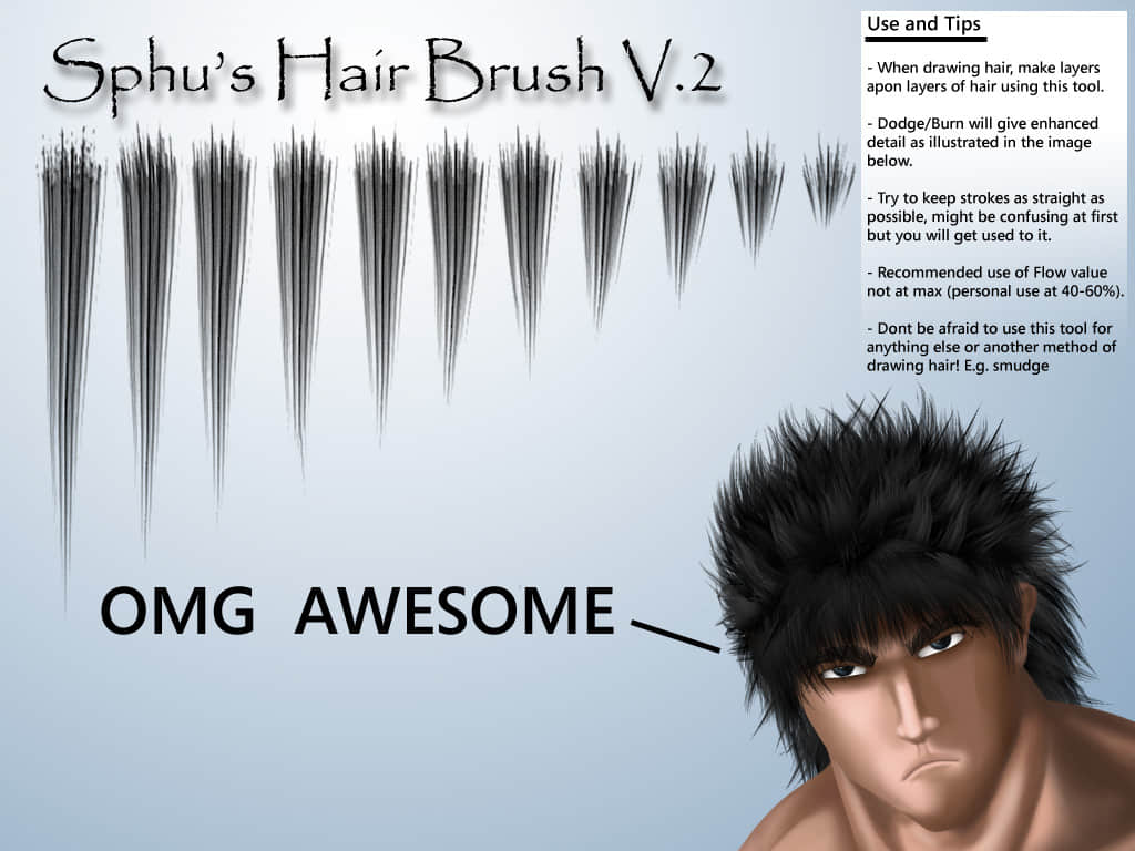 头毛、毛发、头发笔触Photoshop笔刷