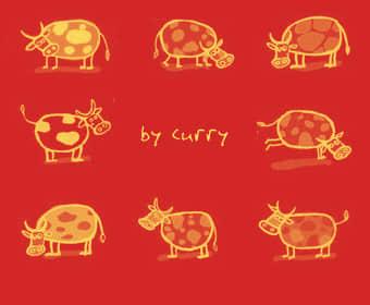 可爱的呆萌手绘奶牛、牛牛卡通图形Photoshop美图笔刷